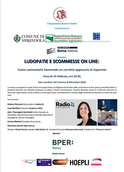 Ludopatie Mirandola Web Radio 5.9 evento Debora Rosciani news