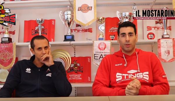 Pre-partita di Pompea Mantova - Assigeco Piacenza con Mario Ghersetti e dall'assistant coach Cassinerio