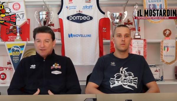 Pre-partita di Pompea Mantova - Fortitudo Bologna con coach Finelli e Veideman