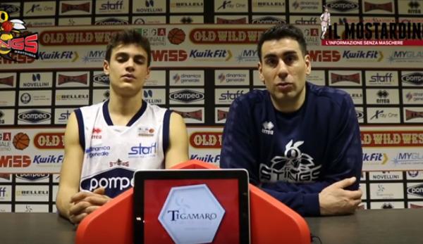 Post-partita di Pompea Mantova - Bondi Ferrara con coach Finelli, Visconti e Ghersetti