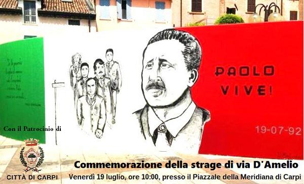 Carpi, domani alle 10 la commemorazione della strage di via D'Amelio in Piazzale della Meridiana