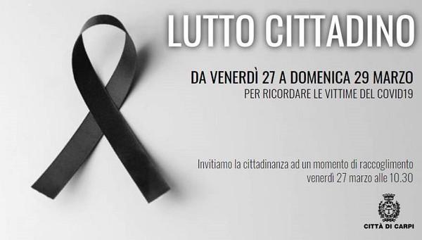 Carpi: iniziati i tre giorni di lutto cittadino per le vittime di Coronavirus